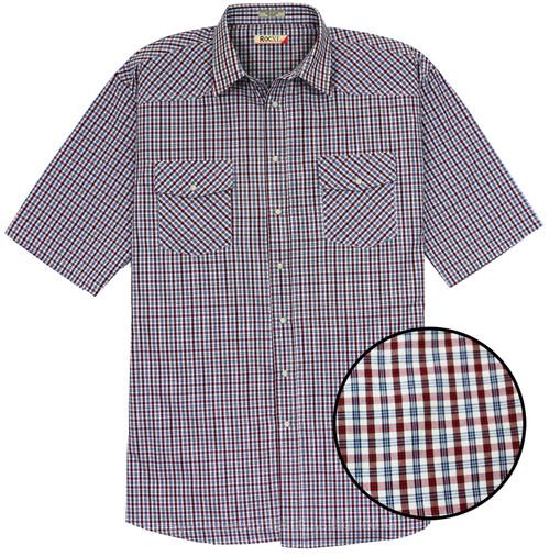ROCXL Short-Sleeve Western Shirt WINE Plaids