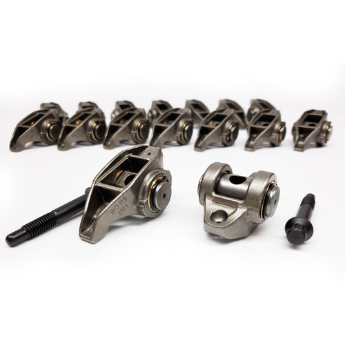 0634619 ROCKER ARM SYSTEM, CAST STEEL, GM LS Series. 4.8L-6.2L Upgraded Trunions and Silicon Bronze Bushings