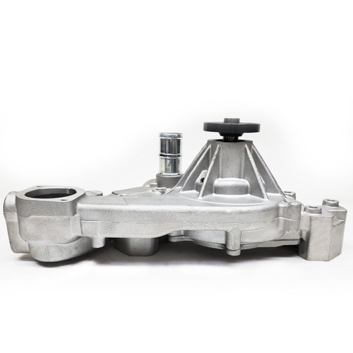 """1434601 WATER PUMP, ALUM HI-PERF, GM, LS Gen III & IV, 1997-2010 Firebird, Camaro, Corvette, SUV with Passenger Side Return Outlet and front inlet, 8-hole billet hub requires pulley, 6.0"""" Block-to-Hub, Rev Rotation, as-cast"""