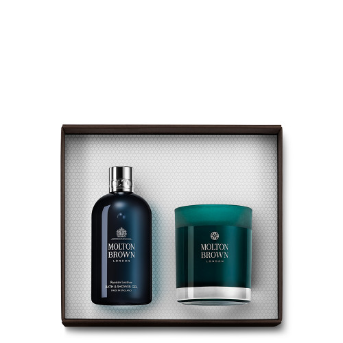 Russian Leather Bath & Candle Gift Set