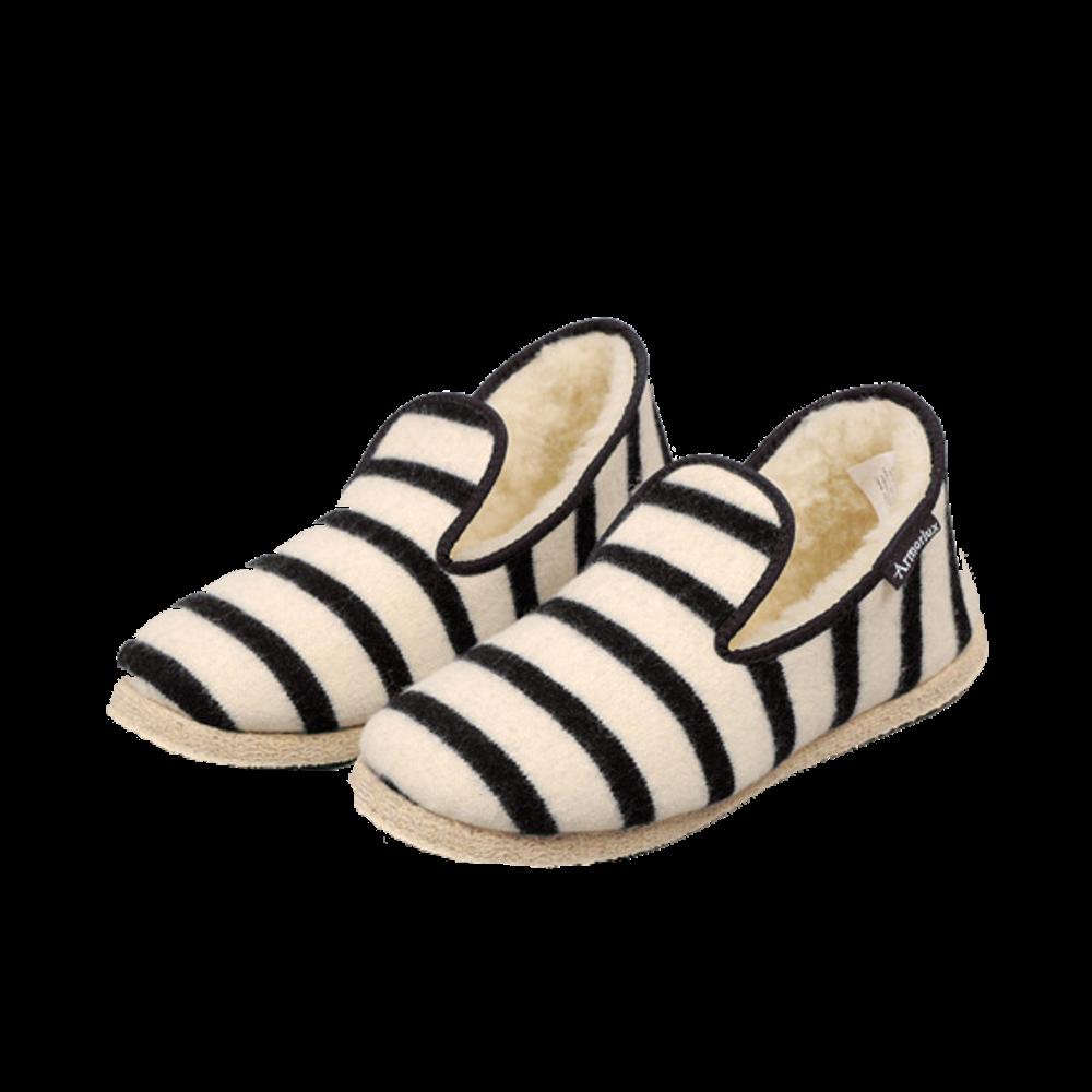 Hand Made Wool Slippers - Nature / Black Stripe
