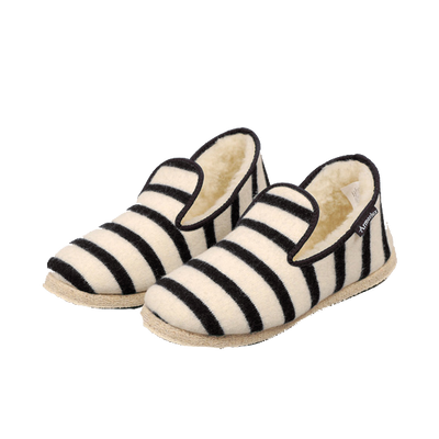 Hand Made Wool Slippers - Nature / Black Stripe