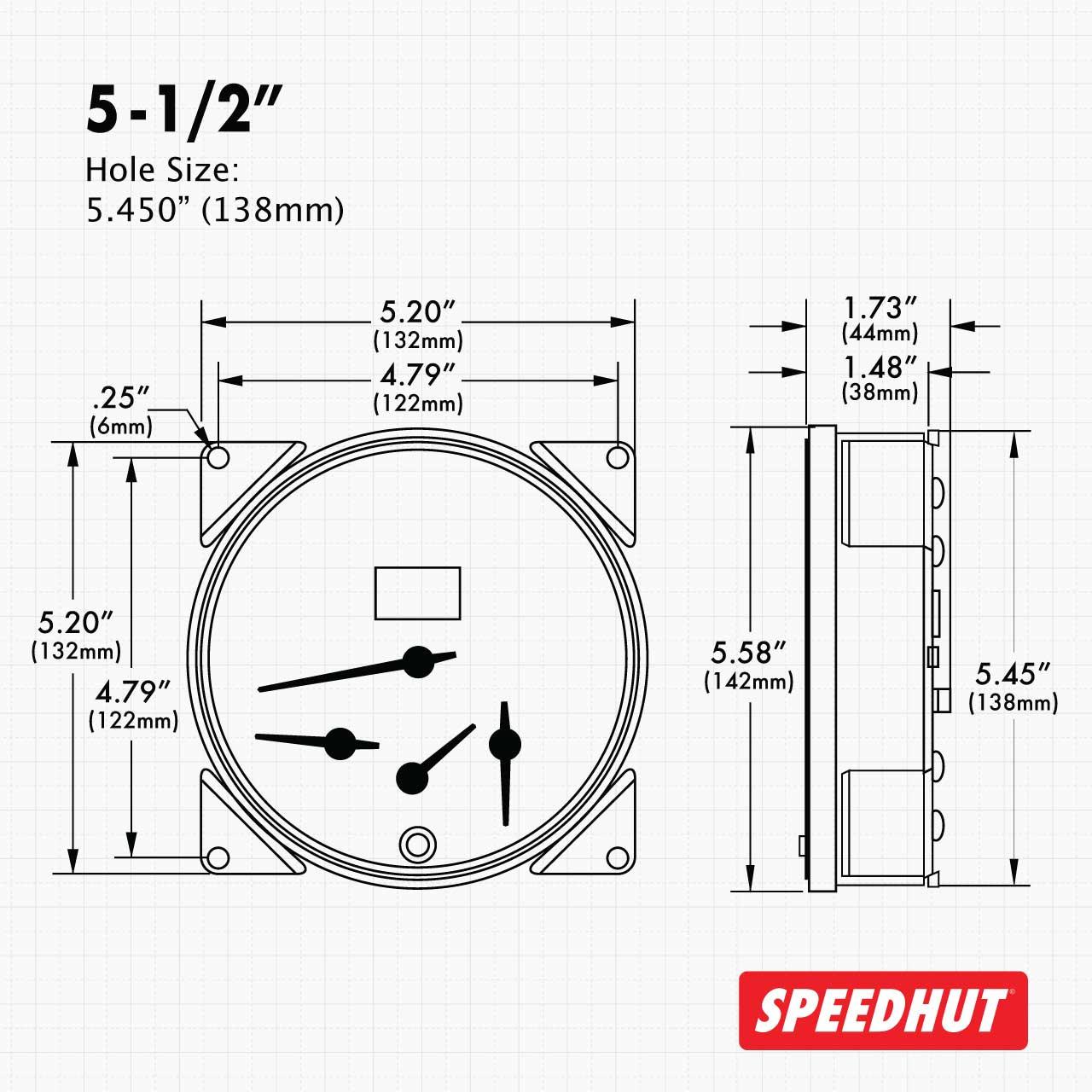 "5-1/2"" CJ Jeep GPS Speedometer Cluster 90mph/140KMH - Speedo, Fuel Level, Temp"