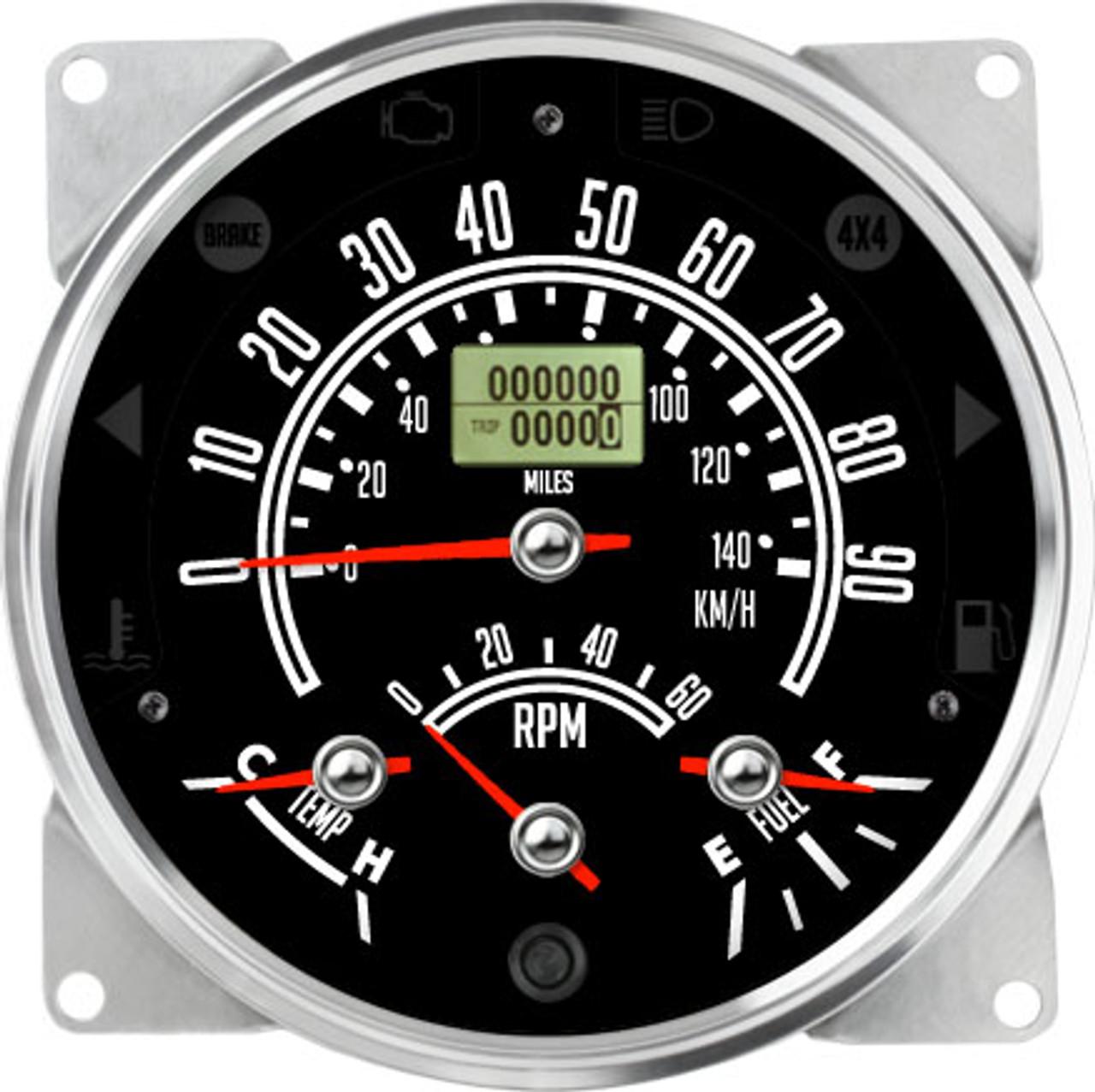 "5-1/2"" CJ Jeep GPS Speedometer Cluster 90mph/140KMH with Tachometer- Speedo, Fuel Level, Temp, Tach"