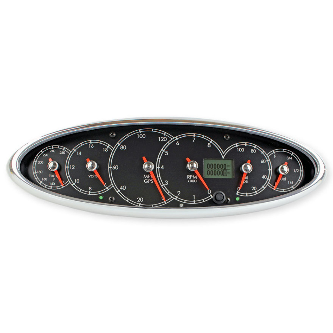 Legends - Icon - 6 in 1 Cluster (Black dial with White font, Chrome Blade Racer Red Pointer)