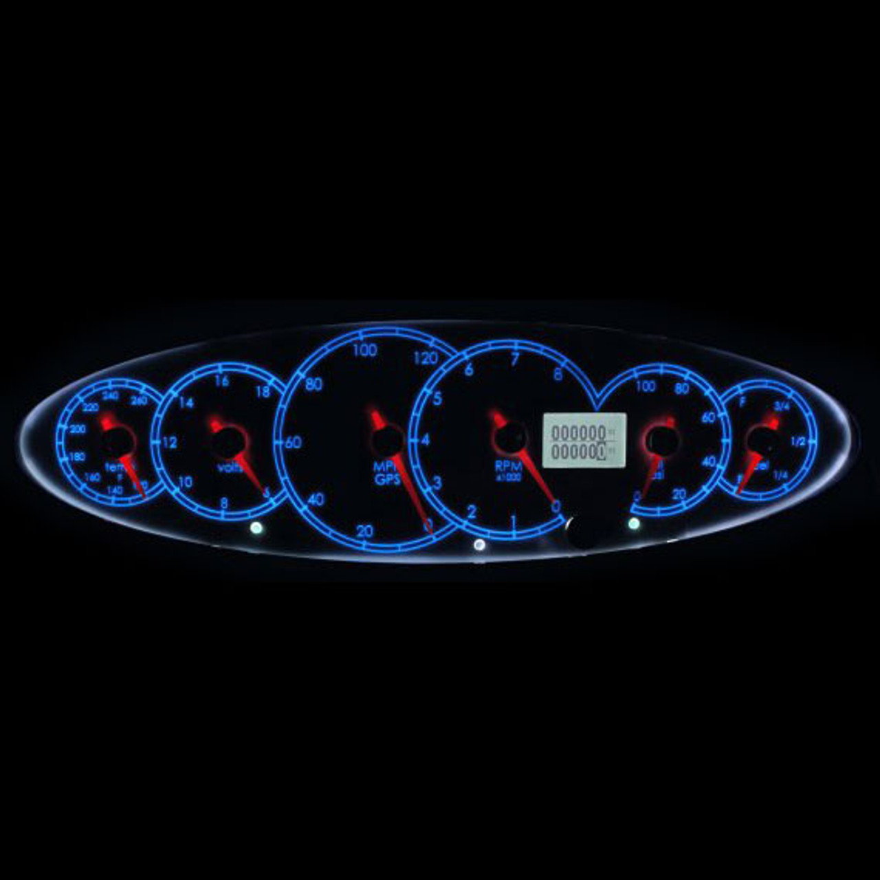 Legends - Icon - 6 in 1 Cluster (White dial with Dark Blue font, Chrome Blade Racer Red Pointer)