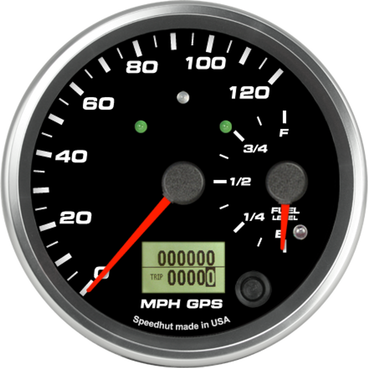 """4"""" Dual Gauge - 120mph GPS Speedometer / Fuel Level (w/ turn signal and high beam)"""