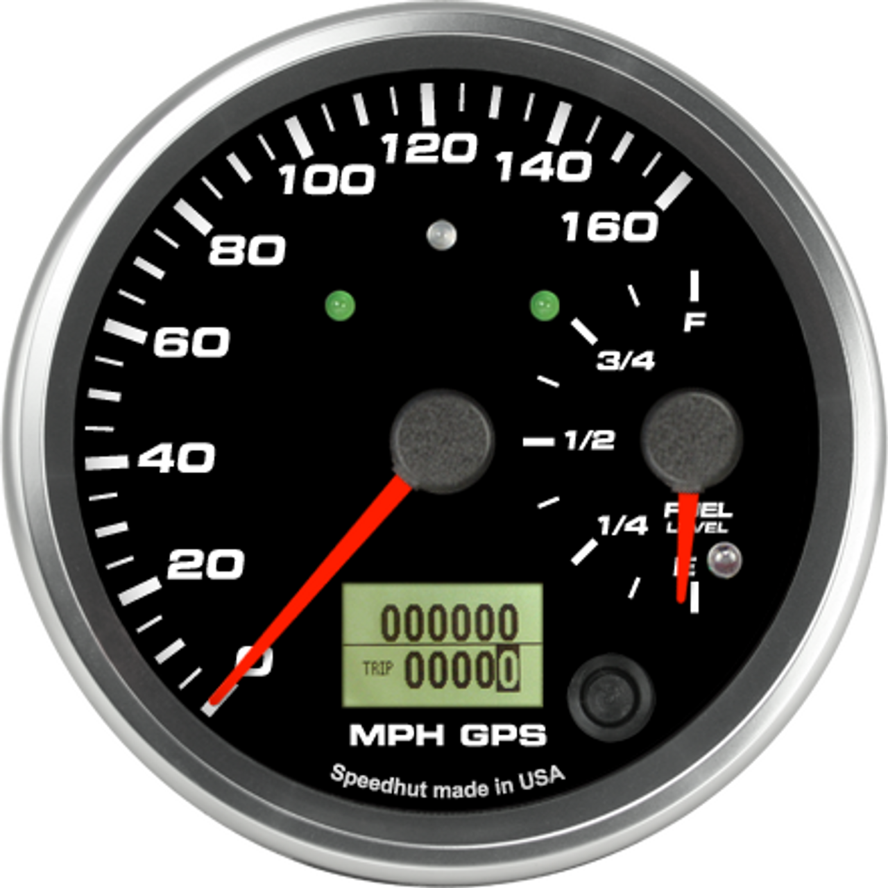 """4"""" Dual Gauge - 160mph GPS Speedometer / Fuel Level (w/ turn signal and high beam)"""