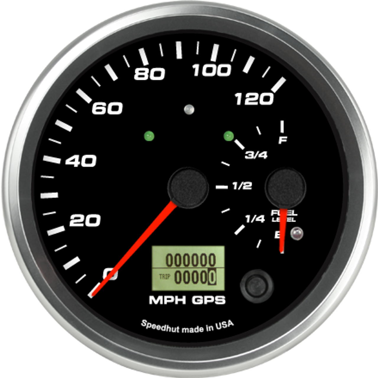 """4-1/2"""" Dual Gauge - 120mph GPS Speedometer / Fuel Level (w/ turn signal and high beam)"""