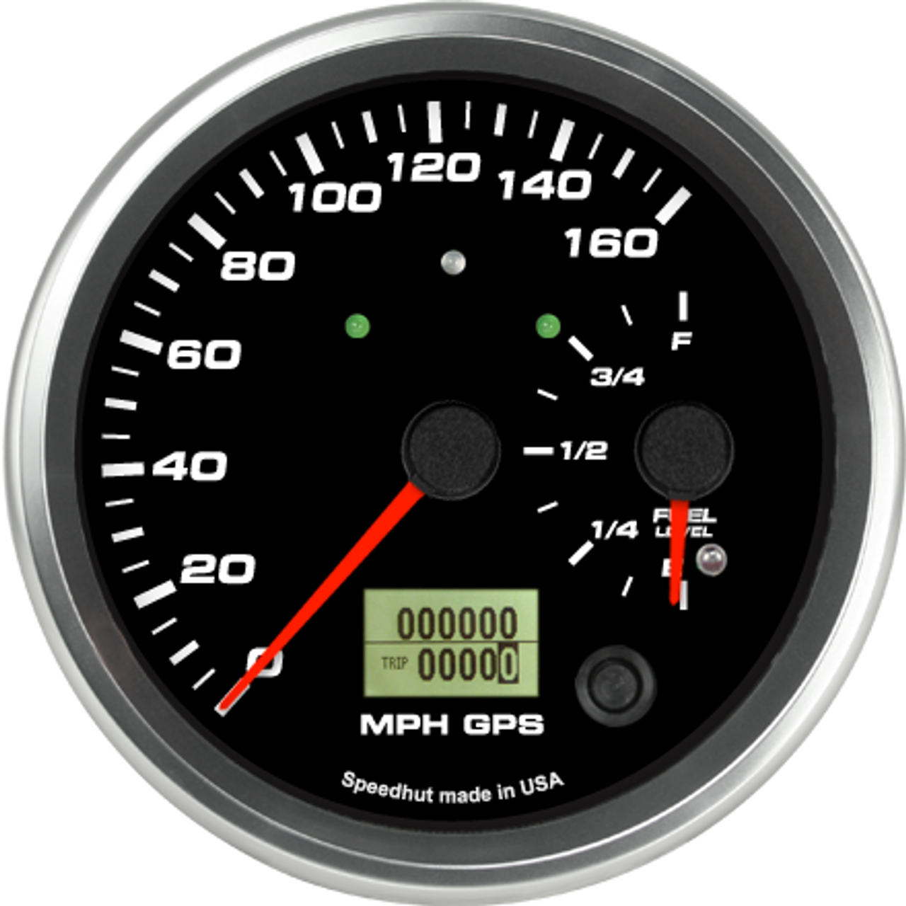"""4-1/2"""" Dual Gauge - 160mph GPS Speedometer / Fuel Level (w/ turn signal and high beam)"""
