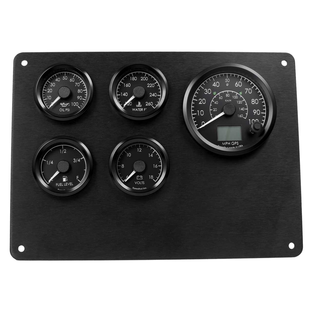 5 Gauge Kit - Humvee - GPS Speedometer, Oil psi, 6-18 Volt, Water Temp, Fuel Level