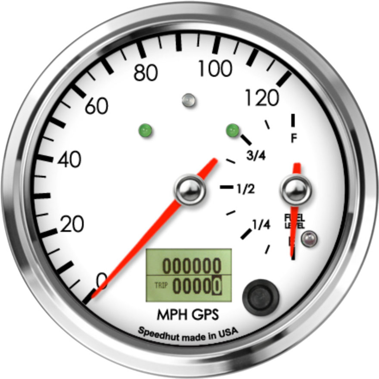 """4"""" Classic Dual Gauge - 120mph GPS Speedometer / Fuel Level (w/ turn signal and high beam)"""