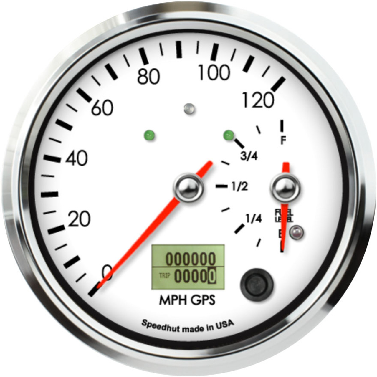 """4-1/2"""" Classic Dual Gauge - 120mph GPS Speedometer / Fuel Level (w/ turn signal and high beam)"""