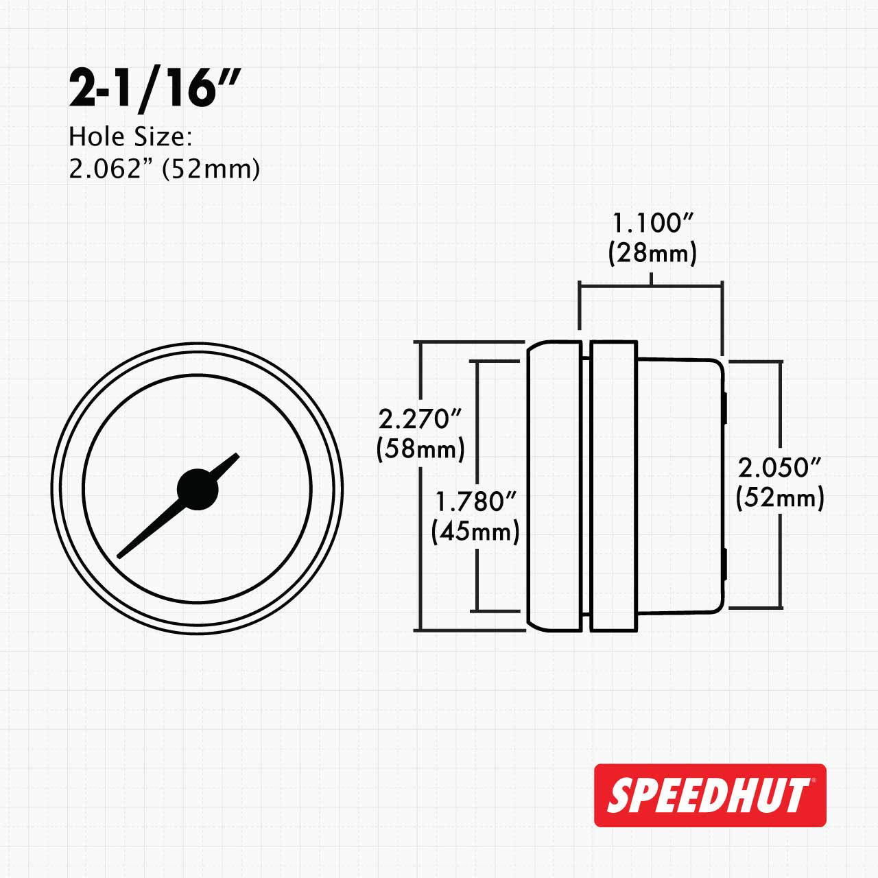 """2-1/16"""" Classic Air/Fuel Gauge Wide Band 10-18 (FOR DYNOJET COMMANDER 2) (90 Degree Sweep)"""
