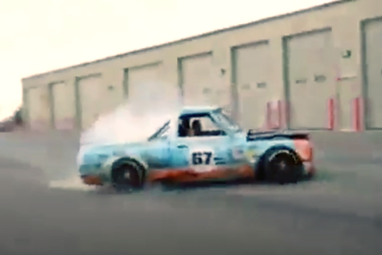 c10 truck doing donuts