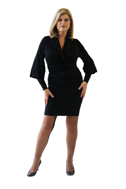 Wrap jacket shown with lined skirt.