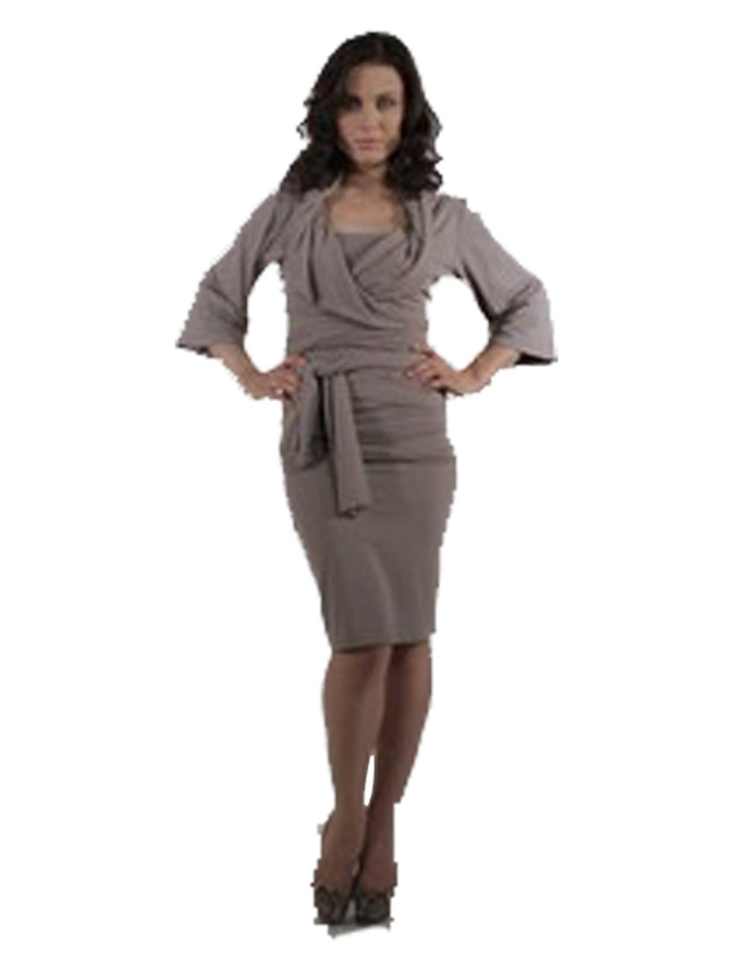 TAUPE WRAP JACKET with skirt