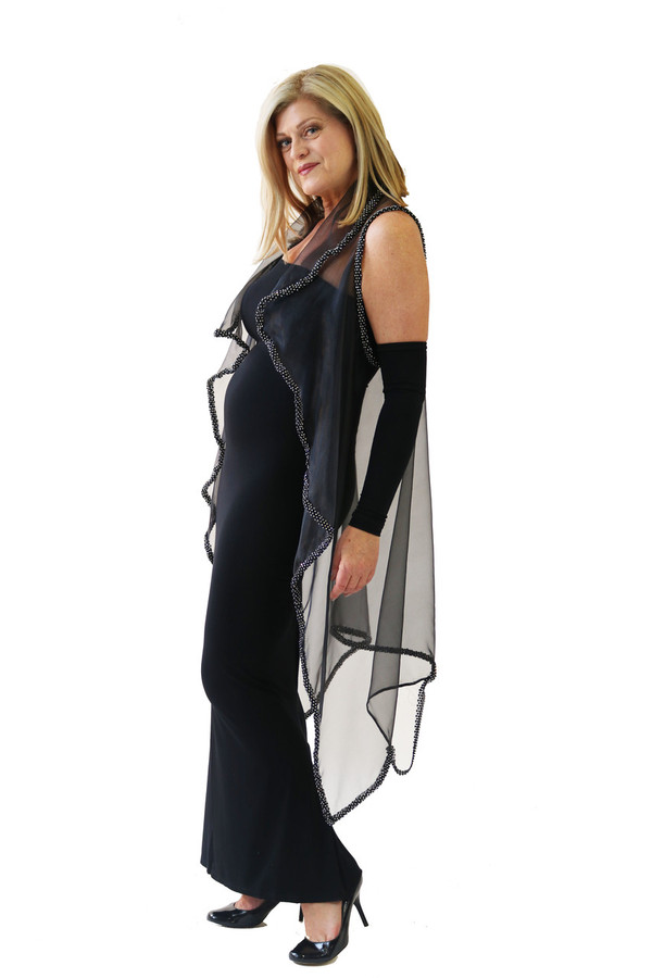 SILK ORGANZA VEST WITH BEADS