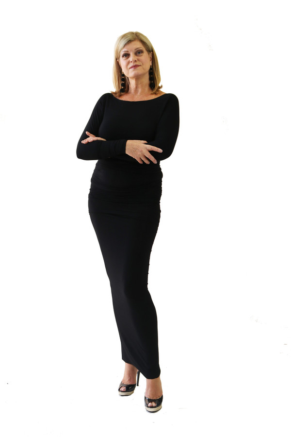A classic for the stage. Simple black bamboo boat neck dress. The dress is 3 meters long and ruches up to give a thin appearance. This dress can be worn at ant length.