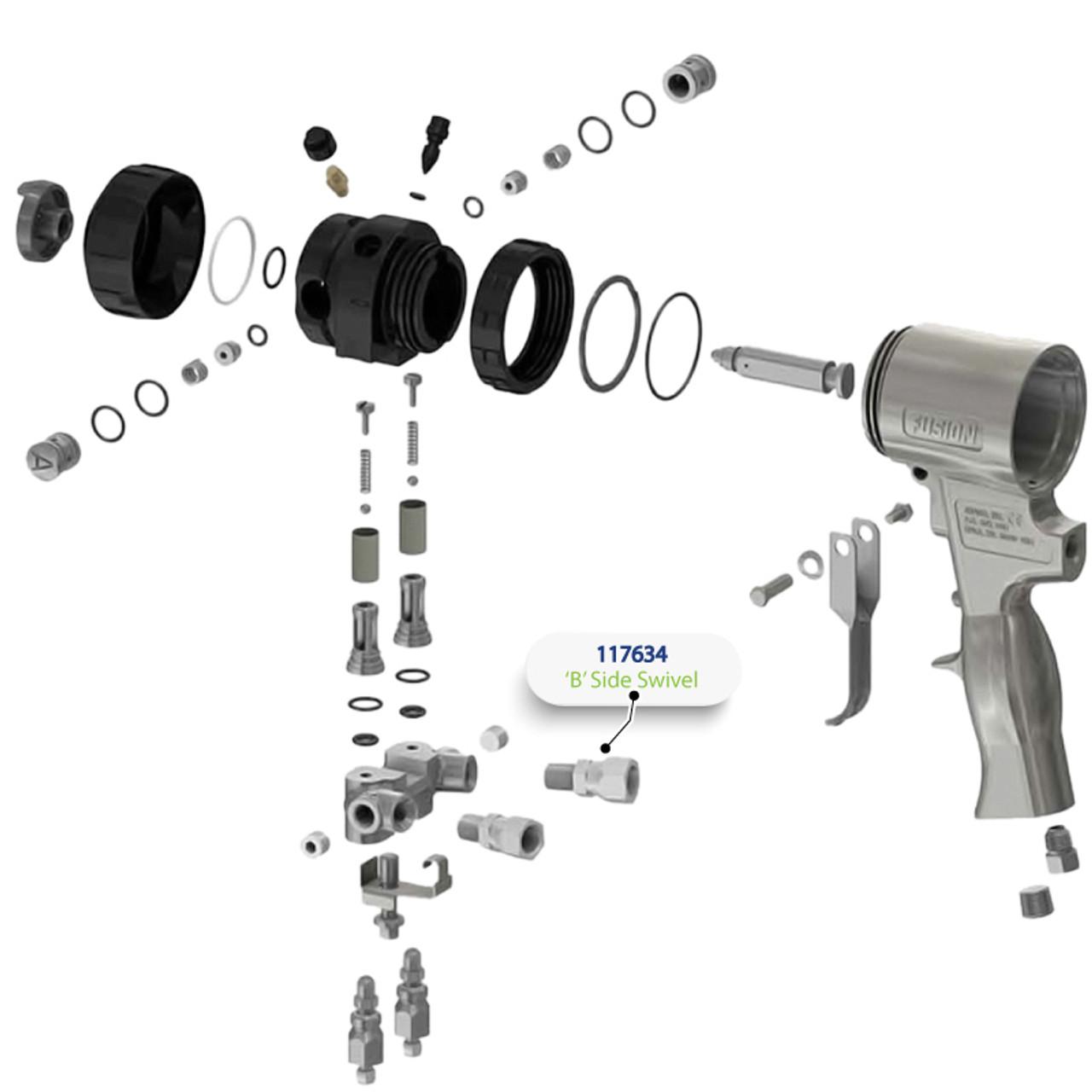 B Side Swivel for Graco Fusion Air Purge (AP) Spray Gun