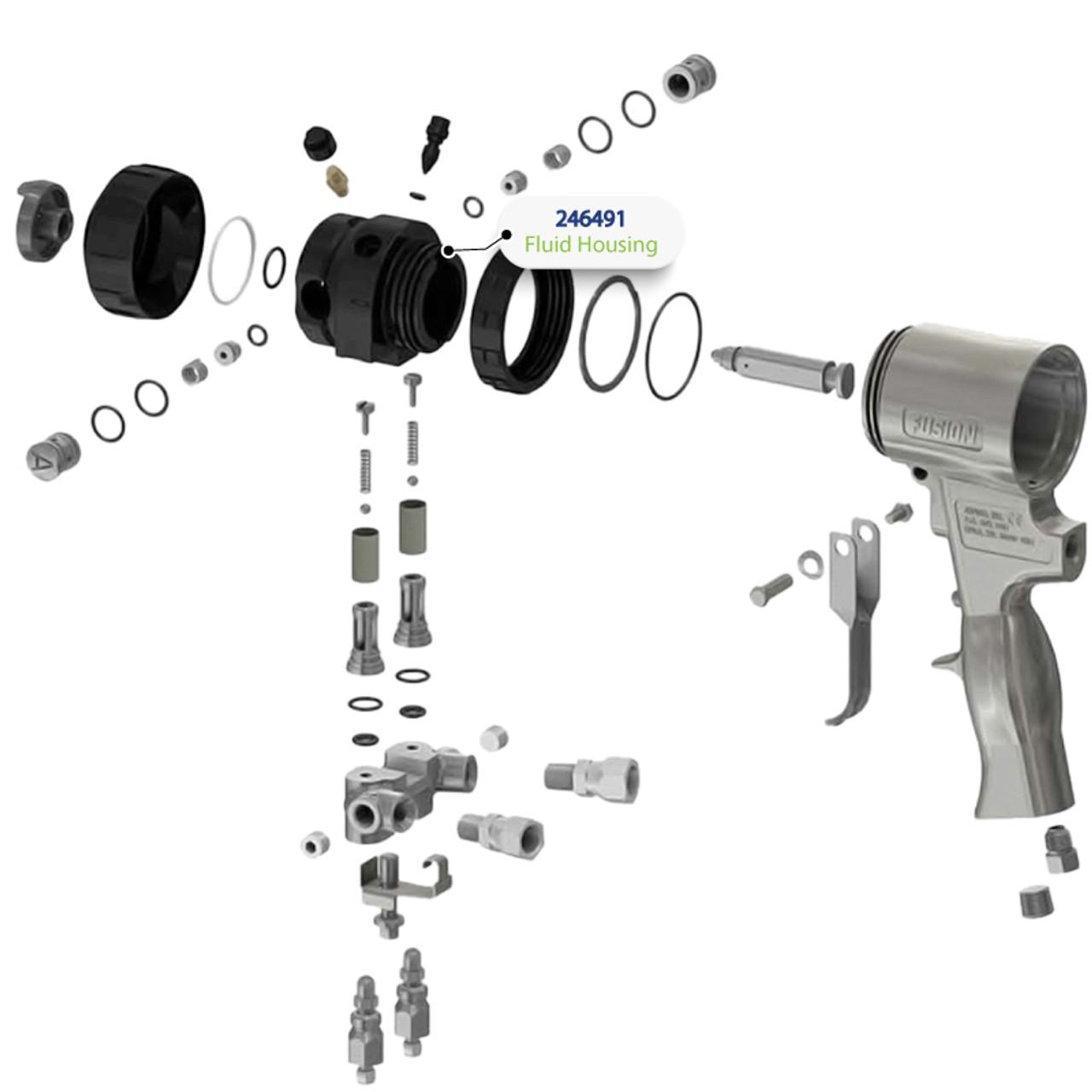 Fluid Housing for Graco Fusion Air Purge (AP) Spray Gun