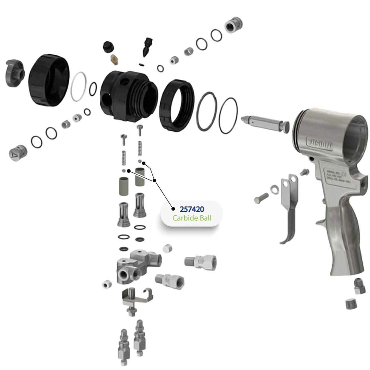 Carbide Ball for Graco Fusion Air Purge (AP) Spray Gun