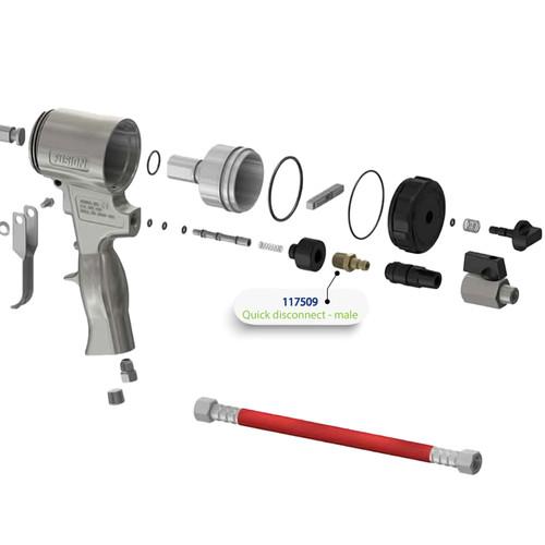 Quick Disconnect (male) for Graco Fusion Air Purge (AP) Spray Gun