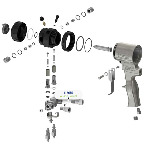 A Side Swivel for Graco Fusion Air Purge (AP) Spray Gun