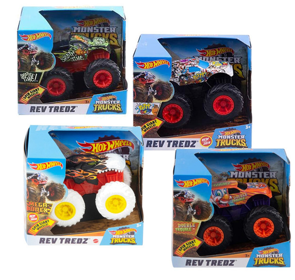 Hot Wheels Monster Truck 1:43 Rev Tredz Asst (4PK)