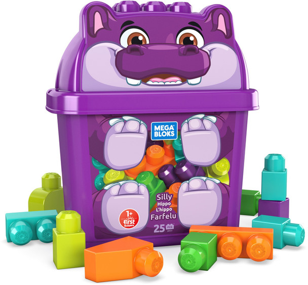 Mega Bloks Silly Hippo Building Set with Storage Container (1PK)