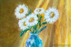 """Daisies and Blue Glass, original still life painting by artist Oksana Ossipov. Acrylic on canvas, 8 by 10"""". Close-up view."""