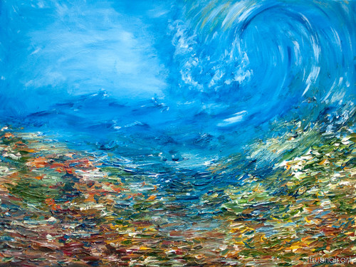 Wave of Calm over Chaos, original abstract painting by artist Oksana Ossipov.  Acrylic on canvas, 18 by 24 inch. Full view.