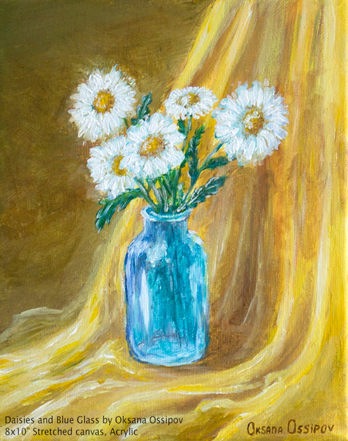 """Daisies and Blue Glass, original still life painting by artist Oksana Ossipov. Acrylic on canvas, 8 by 10"""". Full view."""