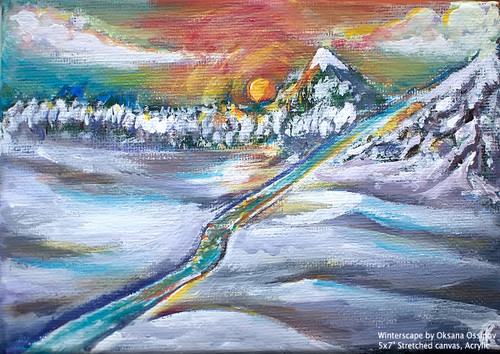 "Winterscape, original landscape painting by artist Oksana Ossipov. Acrylic on canvas, 5 by 7"". Full view."