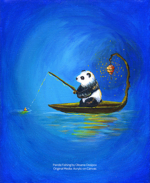 "Panda Fishing, original fantasy painting by artist Oksana Ossipov. Original media: acrylic on canvas, 8 by 10"". Full view."