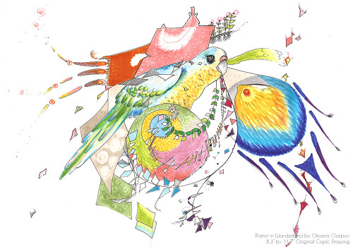 """Parrot in Wonderland, original abstract animal drawing by artist Oksana Ossipov. Copic markers on paper, 8.3 by 11.7"""". Full view."""