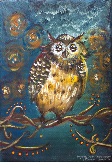 "Enchanted Owl, original fantasy painting by artist Oksana Ossipov. Original media: acrylic on canvas, 5 by 7"". Full view."