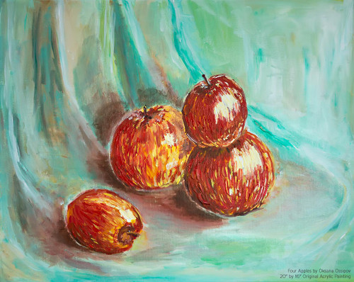 "Four Red Apples, original still life painting by artist Oksana Ossipov. Acrylic on canvas, 20 by 16"". Full view."