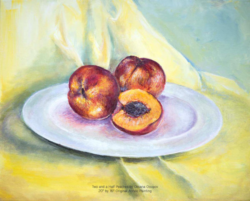 Two and a Half Peaches, original still life painting by artist Oksana Ossipov. Acrylic on canvas, 20 by 16 in. Full view.