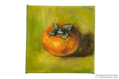 "Persimmon, miniature original still life painting Acrylic on canvas, 4 by 4"". Full view."
