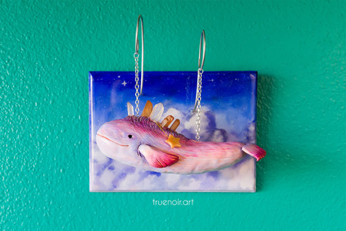 Pink Stargazer whale wall sculpture by Oksana Ossipov. Mixed media, 2018.