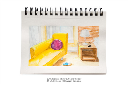 "Sunny Bedroom Interior by Oksana Ossipov 5.5 x 8.5"", Canson 138 lb paper, Watercolor"