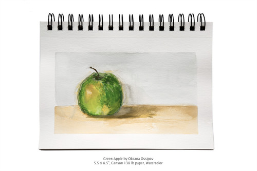 "Green Apple by Oksana Ossipov 5.5 x 8.5"", Canson 138 lb paper, Watercolor"