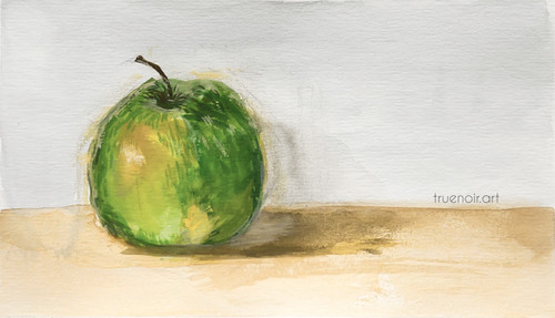 Green Apple by Oksana Ossipov, full view 5.5 x 8.5 in, Canson 138 lb paper, Watercolor