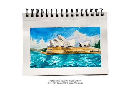 "Sydney Opera House 02 by Oksana Ossipov 5.5 x 8.5"", Canson 138 lb paper, Watercolor"