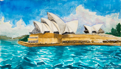 Sydney Opera House 02 by Oksana Ossipov 5.5 x 8.5 in, Canson 138 lb paper, Watercolor