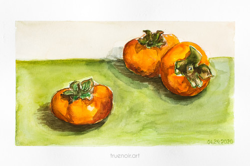 "Three Persimmons by Oksana Ossipov 5.5 x 8.5"", Canson 138 lb paper, Watercolor"