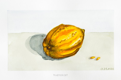 Yellow Gourd by Oksana Ossipov 5.5 x 8.5 in, Canson 138 lb paper, Watercolor