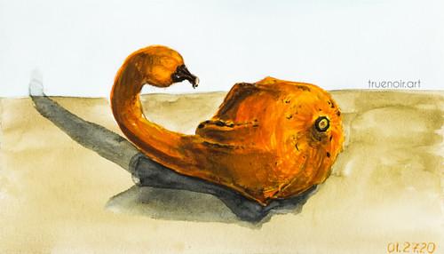 "Duckling Gourd by Oksana Ossipov 5.5 x 8.5"", Canson 138 lb paper, Watercolor"