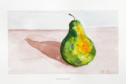Green Pear by Oksana Ossipov 5.5 x 8.5 in, Canson 138 lb paper, Watercolor